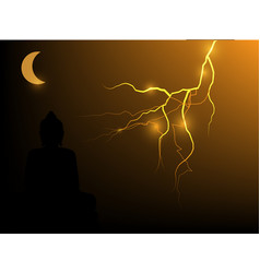 Buddha on a lightning background vector