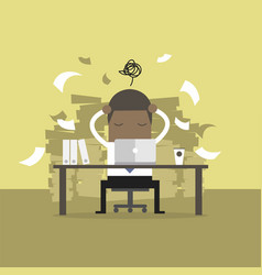 busy time of african businessman in hard working vector image