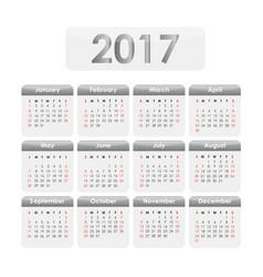 Calendar 2017 grey vector
