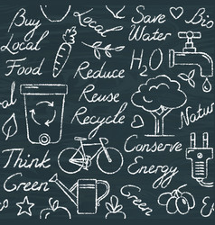 chalkboard seamless pattern with eco symbols in vector image