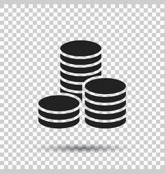 coins stack money stacked coins icon in flat vector image
