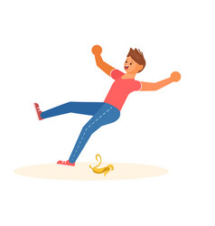 concept of the man slipped on a banana peel vector image