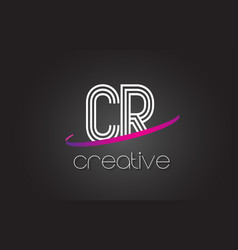 cr c r letter logo with lines design and purple vector image
