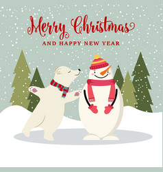 cute flat design christmas card with snowman and vector image