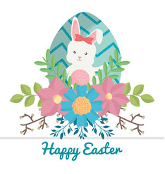 Cute rabbit with easter egg painted and flowers vector