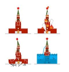 Destruction of Moscow Kremlin Meteorite flies vector