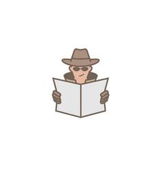 Detective hidden face logo vector