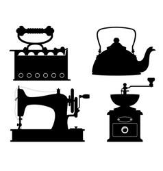 Domestic appliances old retro vintage set icons vector
