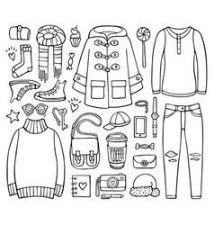 Doodle set of clothes and elements for cold season vector