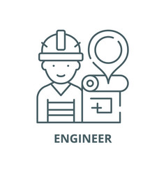 engineer and house plan line icon linear vector image