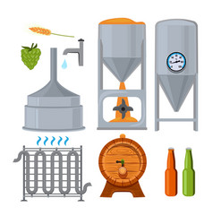 Equipment for the brewery pictures in cartoon vector