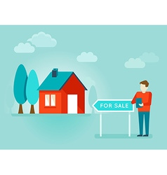 Flat - house for sale vector