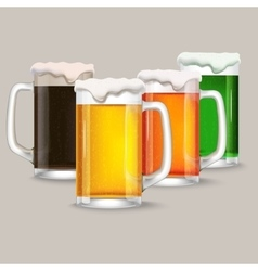 four mug of different beer vector image