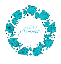 frame for text with fish vector image vector image
