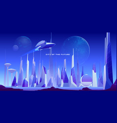 Futuristic urban landscape city and spaceship vector