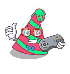 Gamer party hat mascot cartoon vector