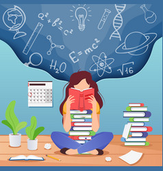 Girl prepare to exam young woman sitting read vector