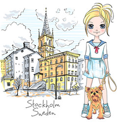 girl with dog in stockholm vector image