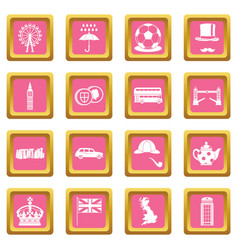 great britain icons pink vector image