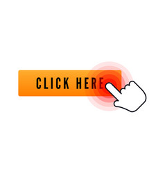 hand cursor with animation action over button vector image