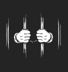 Hands in cuffs holding prison bars vector
