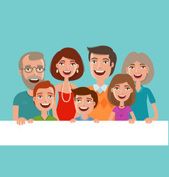 happy cheerful family banner people children vector image