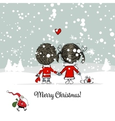 Happy couple in winter forest Christmas card vector image