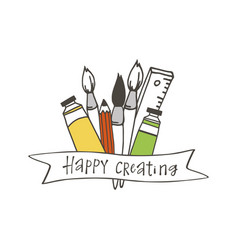 happy creating poster vector image