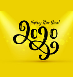 happy new year 2020 text on a yellow background vector image