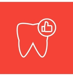 Healthy tooth line icon vector image