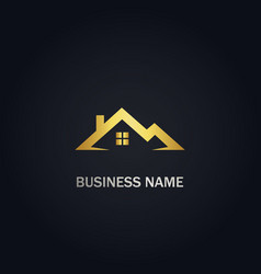 Home roof real estate gold logo vector