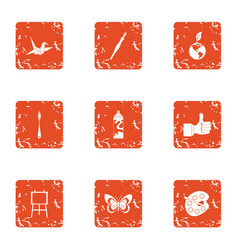 Imagery icons set grunge style vector