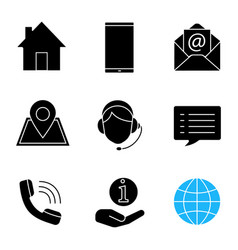 information center glyph icons set vector image