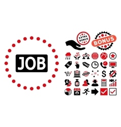Job Text Flat Icon with Bonus vector image