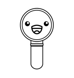 Kawaii magnifying glass cartoon vector