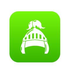 Knight helmet security icon green vector