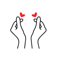korean heart sign finger love symbol happy vector image