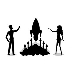 Launching rocket startup of company silhouette vector