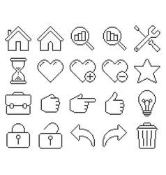 Line pixel icons set user interface set 2 vector