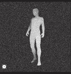 Man stands on his feet 3d model of man black white vector