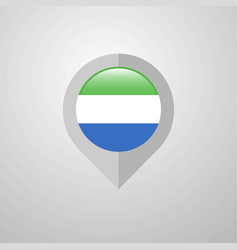 Map navigation pointer with sierra leone flag vector