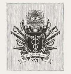 masonic hand-drawn coat arms in vintage style vector image