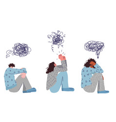 Mental disoder young people sitting on floor vector