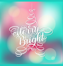 Merry and bright new year lettering in form of vector