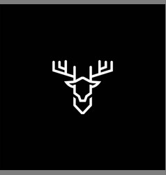 minimalist deer antler monogram line outline logo vector image