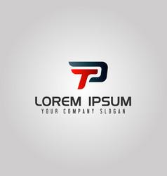 modern letter tp logo speed design concept vector image