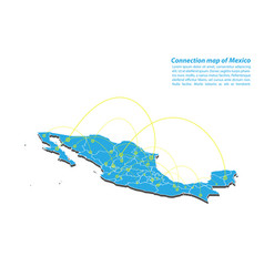 modern of mexico map connections network design vector image