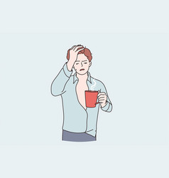 Morning hangover and flu concept vector