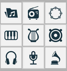 music icons set collection of phonograph vector image