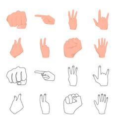 Open fist victory miser hand gesture set vector